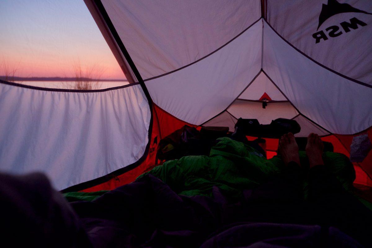 Coucher de soleil dans la tente